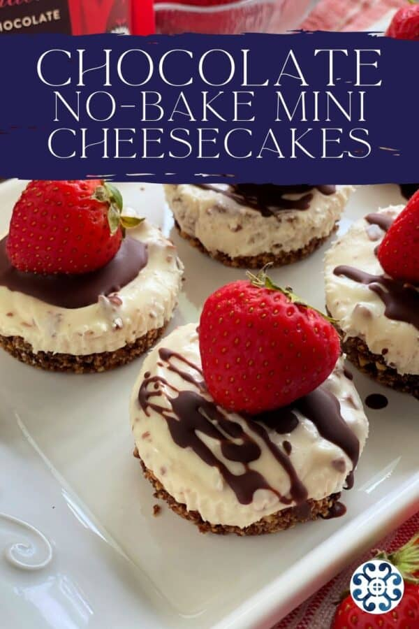 Multiple cheesecake bites with recipe title on text for Pinterest.