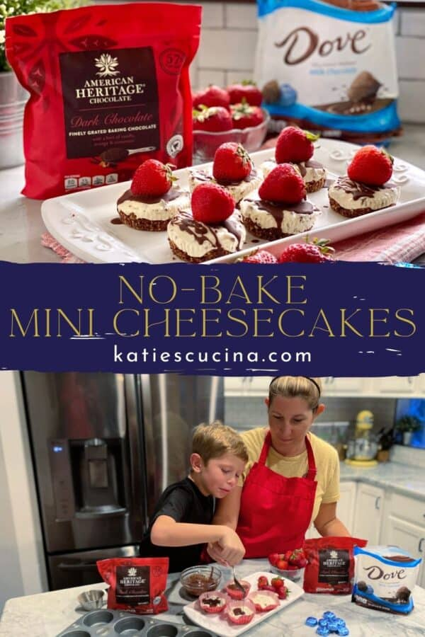 Two photos split by text on on image; top of a platter of mini cheesecakes. Bottom of a mom and son drizzling chocolate.