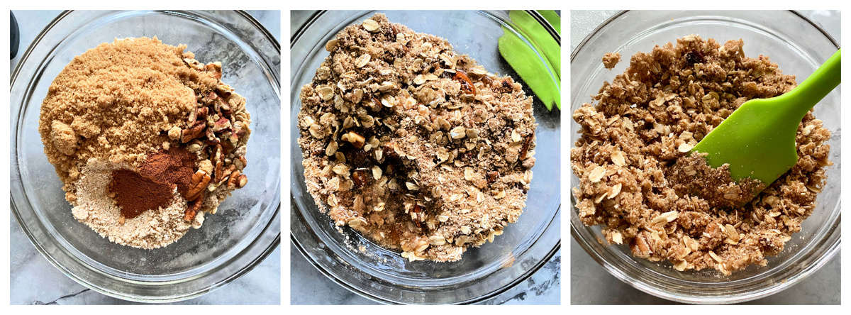 Three photos; all top view of a glass bowl of ingredients making a crisp topping.