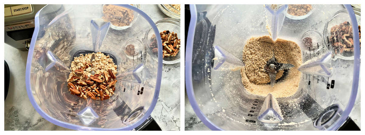 Top view of two photos of a blender with nuts and oats.