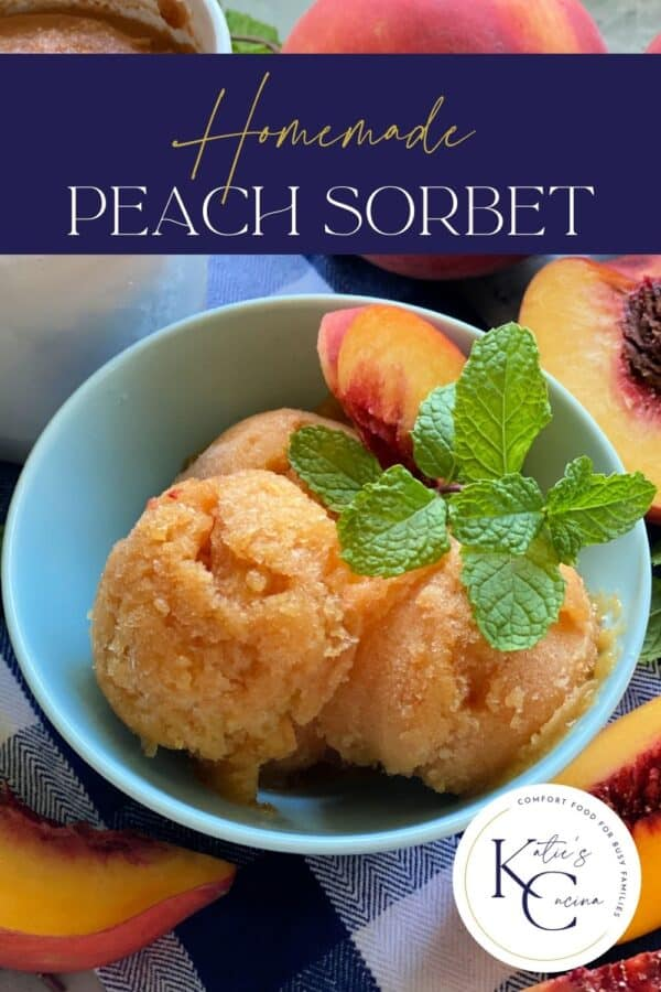 Blue bowl filled with Peach Mint Sorbet with recipe title text on image.