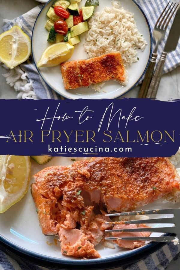 Two photos split by recipe text; top of a top view of a plate of salmon and rice. Bottom photo of a fork flaking cooked salmon.