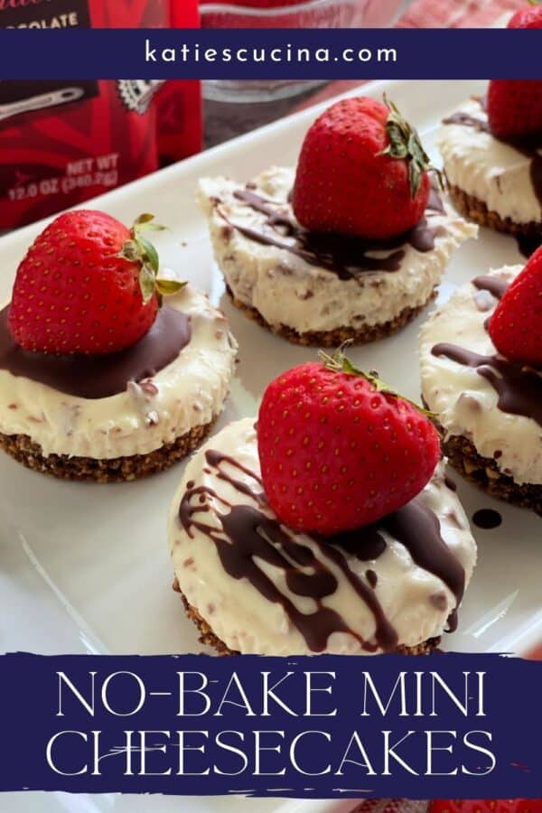 Close up of mini cheesecakes with strawberries and chocolate with recipe title text on image for Pinterest.