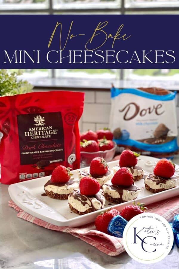 White platter filled with 6 mini cheesecakes with recipe title text on image for Pinterest.