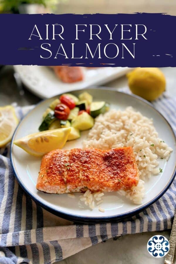 White plate filled with salmon and white rice with recipe text on image for Pinterest.