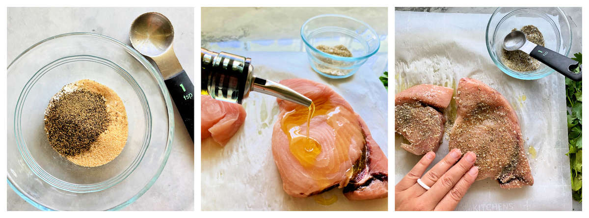 Three photos; left of seasoning in glass bowl, middle of oil being poured on swordfish, right of female hand massaging seasoning on the swordfirsh steak.