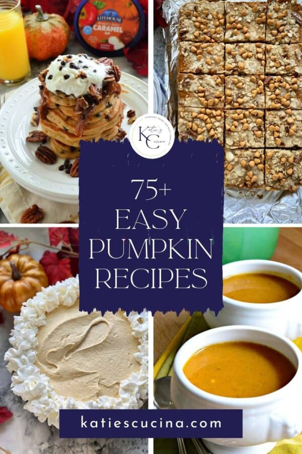 Four photos of; pancakes, pie, soup, and bars with round up title on image for Pinterest.