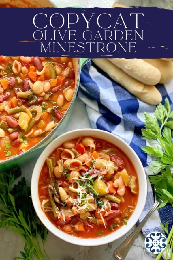Top view of a white bowl filled with minestrone soup with a pot and breadsticks next to it with recipe title on image for Pinterest.