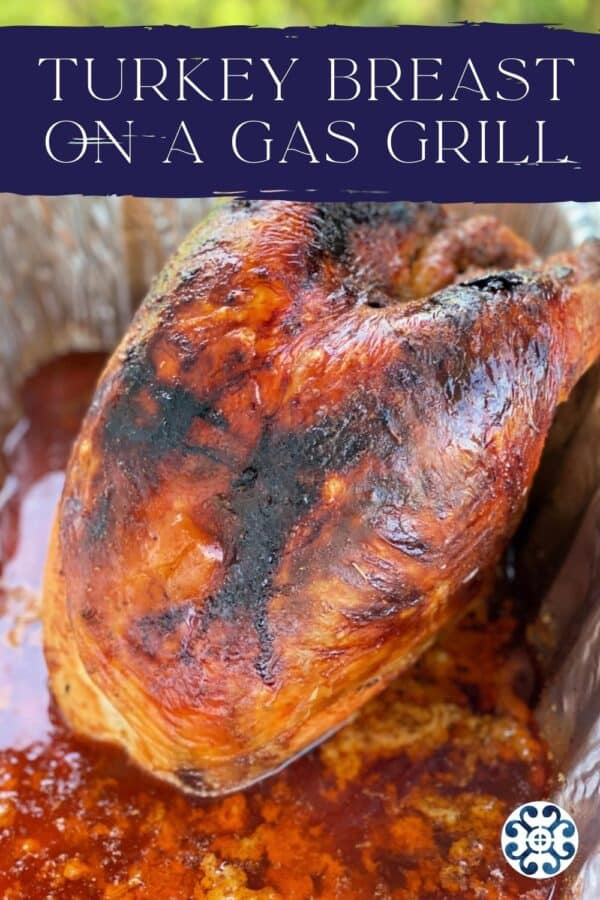 Golden brown whole turkey breast with recipe title text on image of recipe.