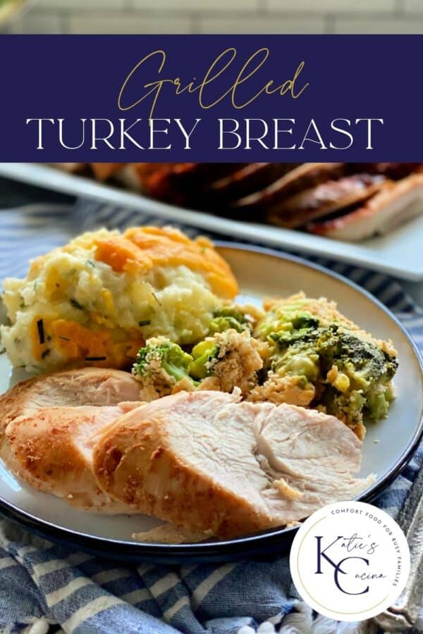 White plate filled with three slices of turkey breast with mashed potatoes and broccoli casserole with recipe title text on image.
