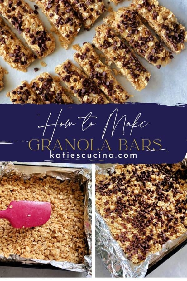 Three photos; divided by reicpe title; top of sliced granole bars, bottom two of making granola bars.
