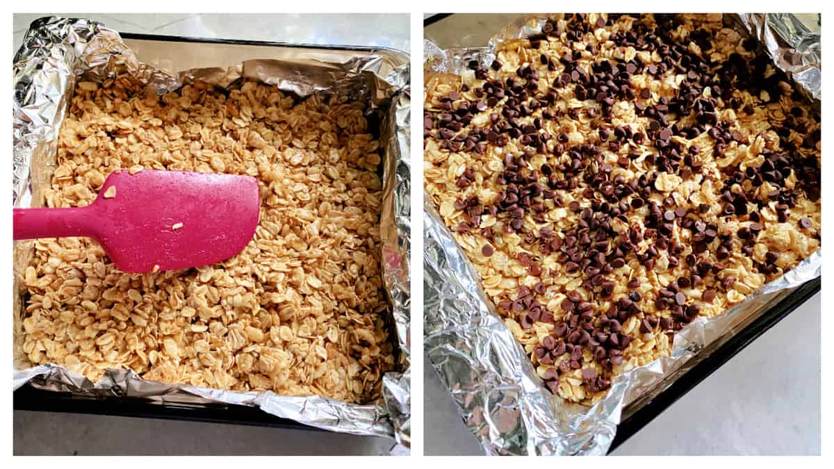 Two photos split; left; pink spatula spreading granola; right granola topped with chocolate chips in square pan.