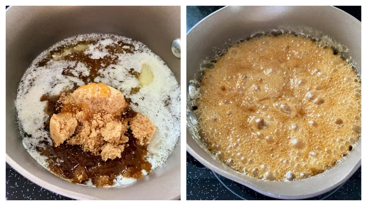 Left photo of brown sugar and butter in pot; right of carmelized sugar.