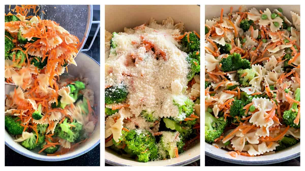 Three photos of veggies, pasta and cheese in a large pot.