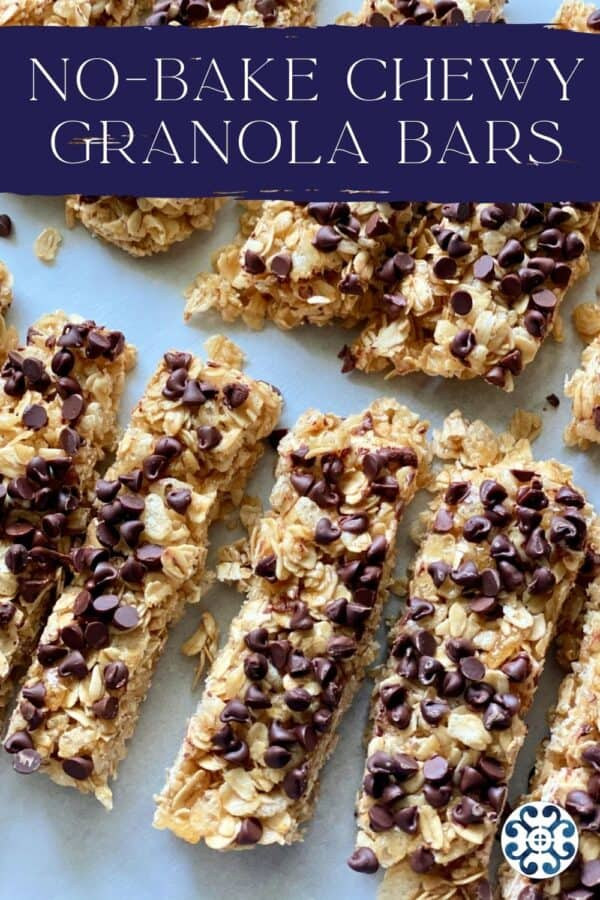 Top view of sliced granola bars with mini chocolate chips with recipe title text on image for Pinterest.