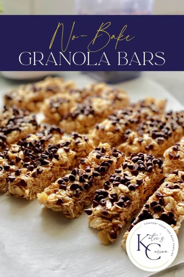 Homemade sliced granola bars with mini chocolate chips and recipe title text on image for Pinterest.