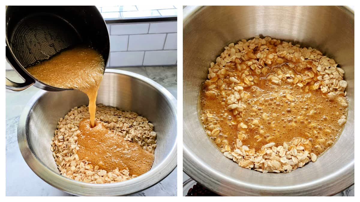 Left: caramel being poured into a bowl with oats. Right: caramel, oatsand rice krispie ceral in a metal bowl.