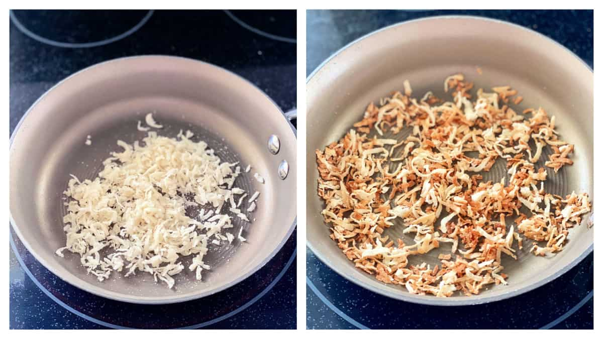 Two photos; left of coconut flakes on a pan right of toasted coconut flakes.