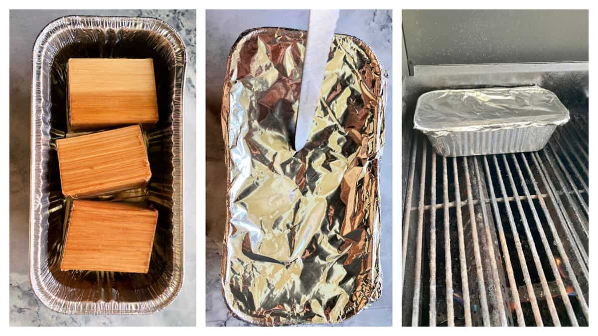 Three photos on how to make a smoker box for a gas grill.