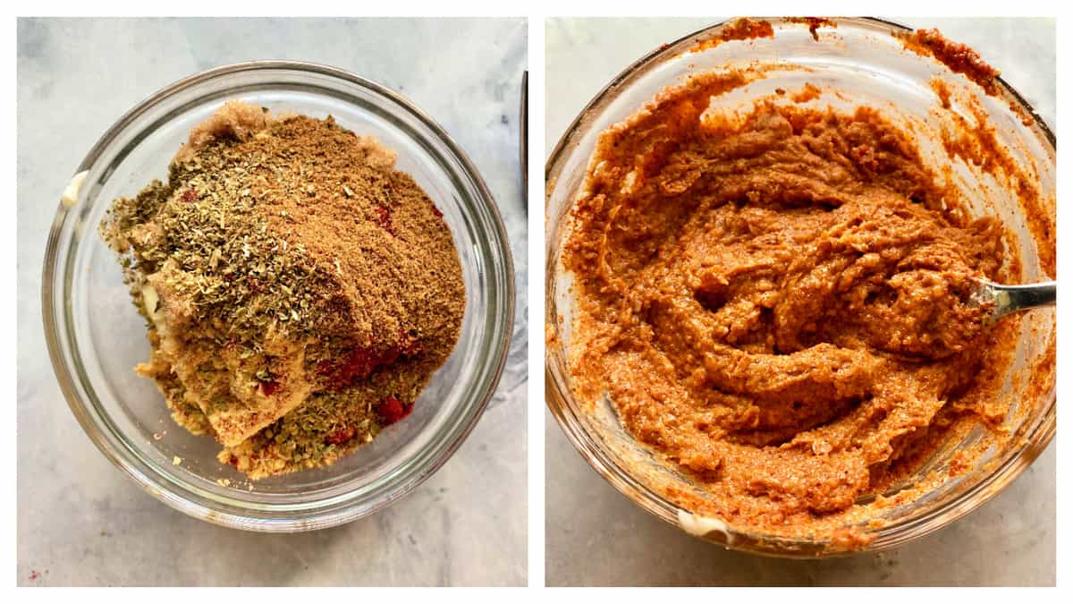 Left photo of spices and butter in bowl, right photo of mixed spices and butter.
